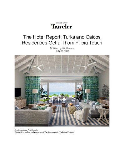 Conde Nast Traveler, July 20th, 2015 -