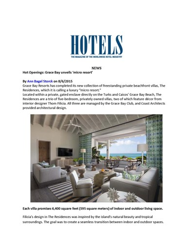Hotels Magazine, August 6th, 2015 -